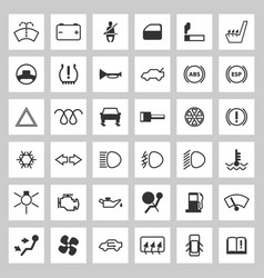 Car dashboard icons set vector