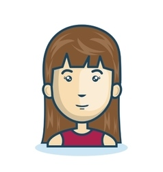 cartoon girl face isolated design vector image