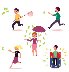 casual people chasing for money set vector image