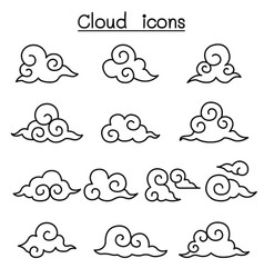 Cloud icon set in thin line style vector