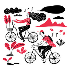 couple cycling in the park collection of hand vector image