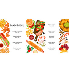 cute menu with different snacks vector image