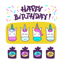 Cute unicorns happy birthday vector