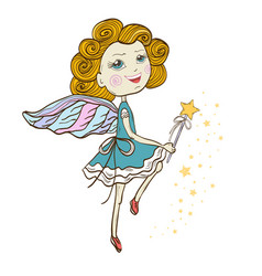 dancing fairy with magic wand vector image