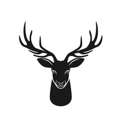 deer head silhouette on white background vector image