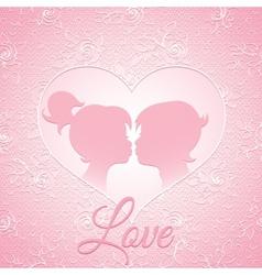 Delicate pink love card vector