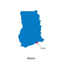 Detailed map of Ghana and capital city Accra vector image