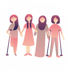 Disabled woman female standing together physical vector