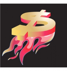 dollar fire vector image