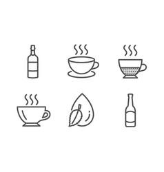 Doppio brandy bottle and cappuccino icons set vector