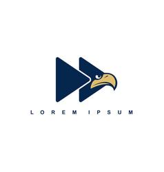 Eagle hawk bird logo template fast forward button vector