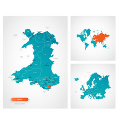 Editable template map wales with marks vector