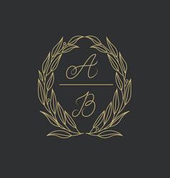 Elegant floral logo wedding logo design vector