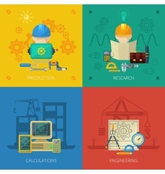 Engineer flat icons composition square vector