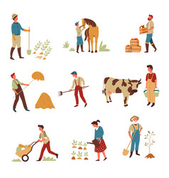 farmers agriculture and farming livestock and crop vector image