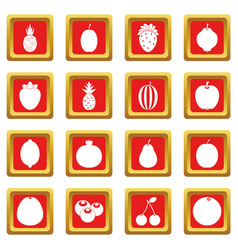 Fruit icons set red vector