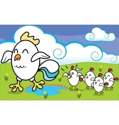 Funny cartoon chicken with chickens walking on vector