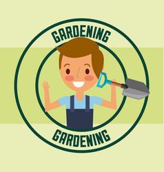 gardener boy holding shovel tool label gardening vector image