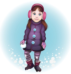 Girl with snowball vector