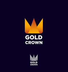 gold crown origami logo yellow orange ribbon vector image