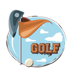 golf club emblem with hole flag and hat vector image