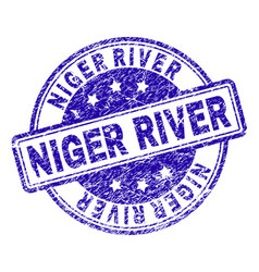 Grunge textured niger river stamp seal vector