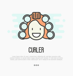 happy cartoon woman with curlers vector image vector image