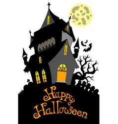 Happy halloween sign with mansion vector