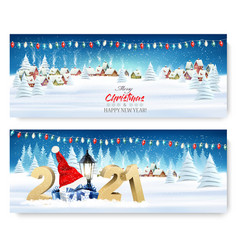 holiday christmas and new year banners with a vector image