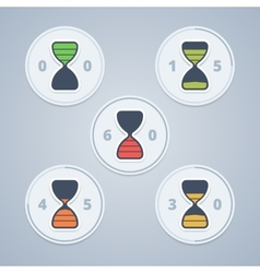 Hourglass timer icons with color gradation and vector
