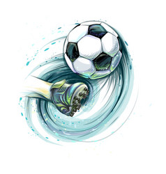 kick a soccer ball vector image