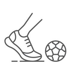 kickball thin line icon football and play foot vector image