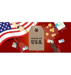 Made in USA emblem written on a label tag with vector image