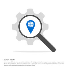 Map pin icon search glass with gear symbol icon vector