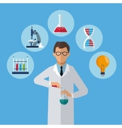 medical scientist test tube laboratory icons vector image