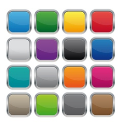 metallic square buttons vector image