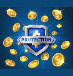 money protection realistic shield flying golden vector image