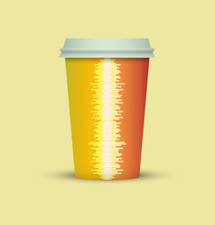 Music waves coffee cup vector