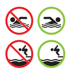no swimming and swimming allowed sign set vector image