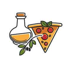 olive oil of high quality and delicious pizza from vector image
