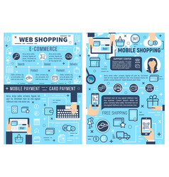 Online e-commerce and mobile shopping vector