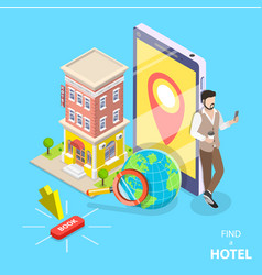 Online hotel search flat isometric concept vector