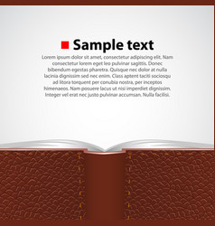Open leather book background vector