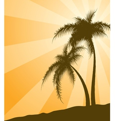 orange background with palm trees vector image