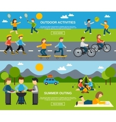 Outing Banner Set vector image