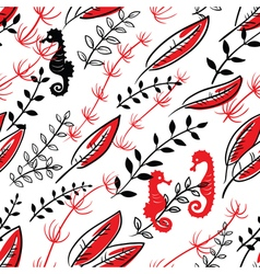 Pattern with Sea Horses vector