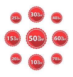 percentage off sale labels red color vector image