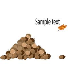 Pile acorns vector