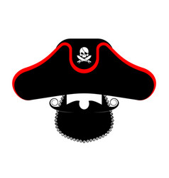 pirate portrait in hat eye patch and smoking pipe vector image