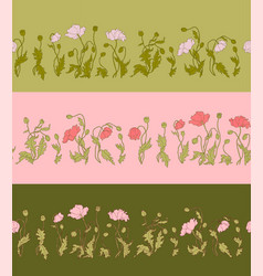 poppy seamless pattern set with 3 stripes vector image